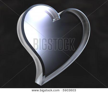 Heart icon symbol in glass