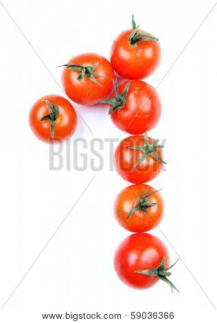 Letters and numbers alphabet of red tomatoes