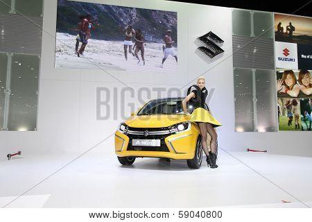 Nonthaburi - November 28: Suzuki A-wind Car With Unidentified Model On Display At The 30Th Thailand