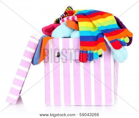 Textile box with different socks, isolated on white