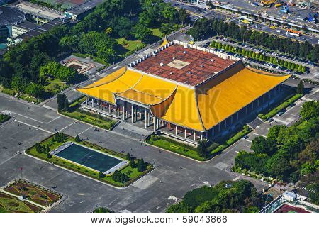 Taipei, Taiwan at Dr. Sun Yat-sen Memorial Hall aerial view.