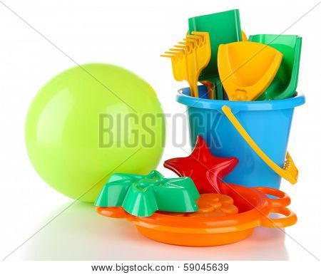 Bright ball and sandbox toys isolated on white