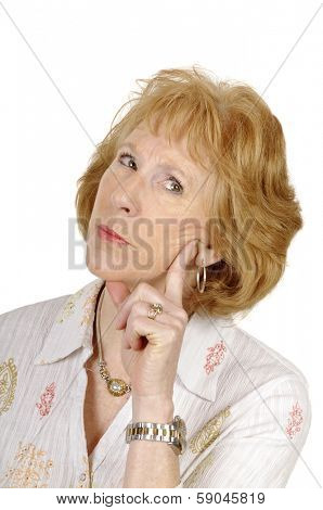 older business woman thinking about a situation contemplating the options isolated on white with room for your text