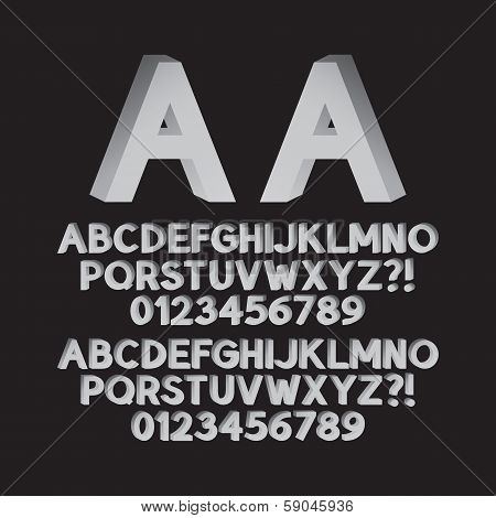 Down Left And Right Isometric Font And Numbers, Eps 10 Vector