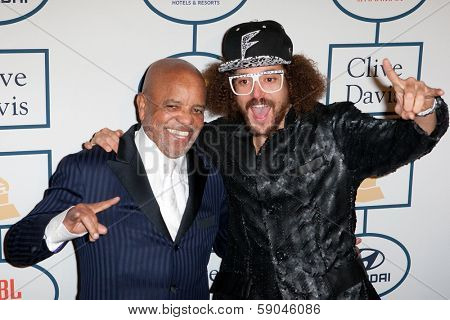 BEVERLY HILLS, CA. - JANUARY 25: Berry Gordy & son Red Foo arrive at the Clive Davis & The Recording Academy annual Pre-GRAMMY Gala on January 25th 2014 at the Beverly Hilton in Beverly Hills.