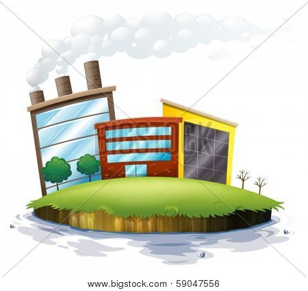 Illustration of an island with factories on a white background