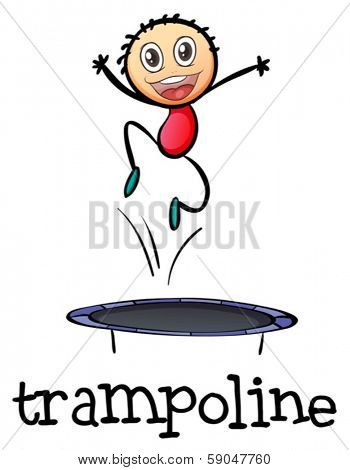 Illustration of a young boy playing with the trampoline a white background