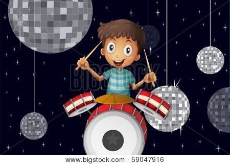 Illustration of a young drummer at the disco house