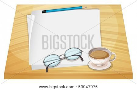 Illustration of a table with empty papers, a pencil, an eyeglass and a cup of hot choco on a white background