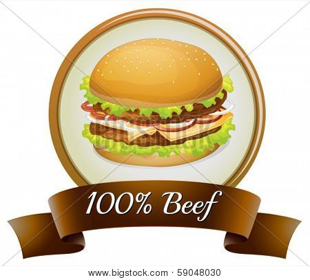 Illustration of a pure beef label with a burger on a white background