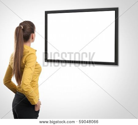 Business Woman Looking At Tv