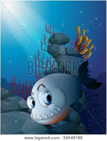 Illustration of a scary piranha near the rocks on a white background