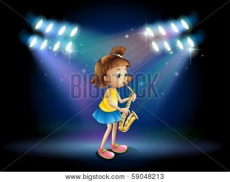 Illustration of a young lady at the stage playing with her saxophone