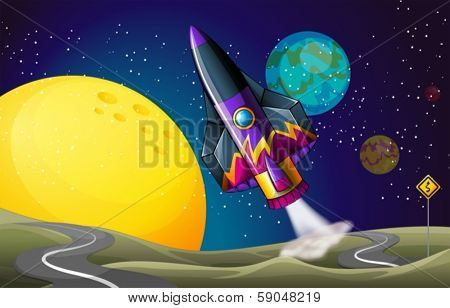 Illustration of a colorful aircraft near the moon