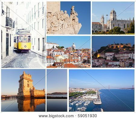 Set of photos with types of sights of Lisbon Portugal