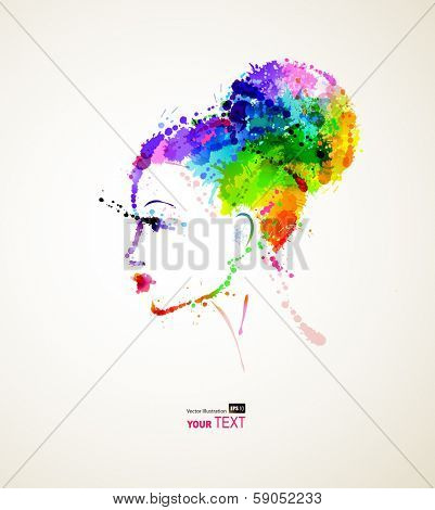 fashionable girl with dyed vivid  hair