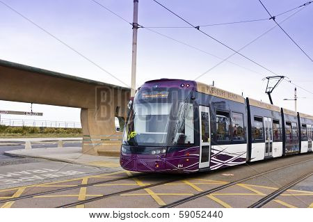Tram at the sea side resort of Blackpool.