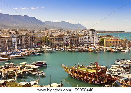 Busy life of an historic harbour in Kyrenia, Cyprus.