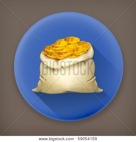 Bag of money, long shadow vector icon