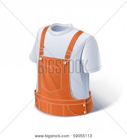 Shirt and overalls. Workers clothes.  Eps10 vector illustration. Isolated on white background