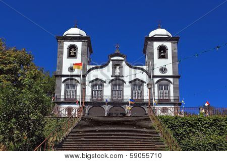 Attractions Portuguese island of Madeira. The magnificent white church of Nossa Senhora do Monte.