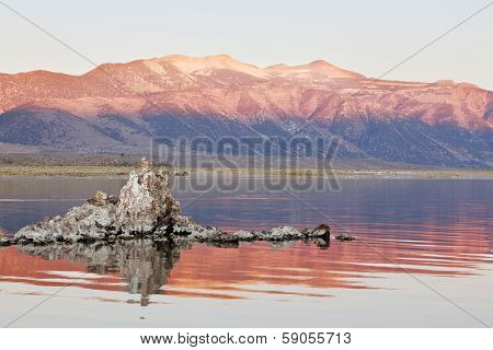 Fabulous sunrise. Sunrise at Mono Lake in the crater of an ancient extinct volcano. The lake is a lot of beautiful reefs Tufa