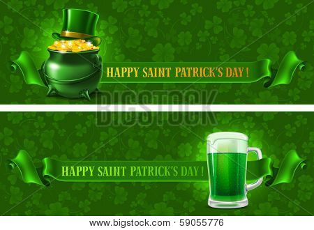 St.Patrick's Day background with beer and wealth. Vector illustration