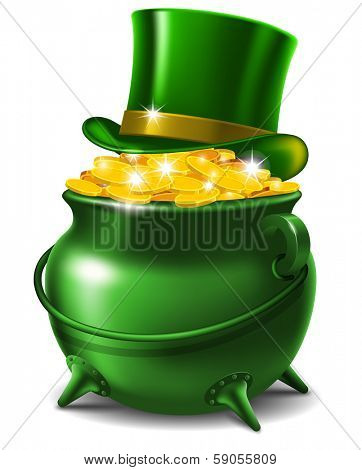 St. Patrick's Day symbols - leprechaun hat and pot of gold.  Vector illustration