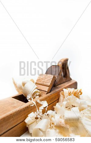 Planer With Wooden Chips, Wood Shavings
