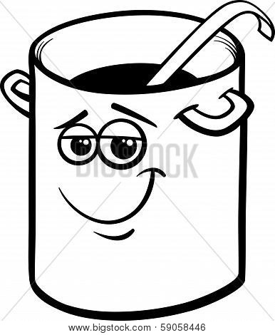 Pot Or Pan With Ladle Coloring Page