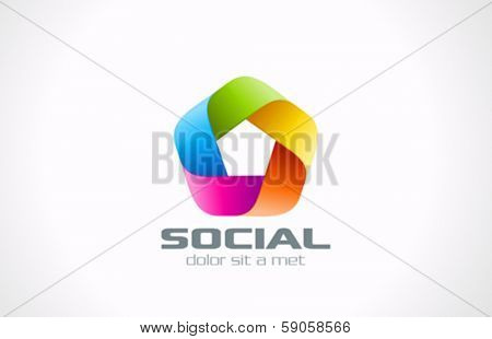 Abstract Pentagon shape colorful social logo design template. Ribbon infinity shape.Infinite looped