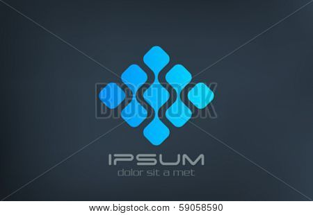 Abstract Technology vector logo creative design template. DNA, Molecule, Atom, Electronics concept icon.