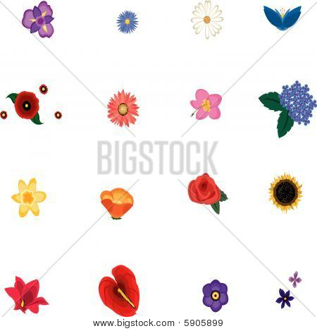 Collection of flower icons, isolated vector