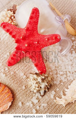 Sea spa setting with  red star fish
