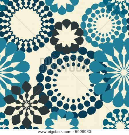 Blue retro flowers