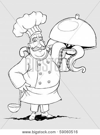 Chef with signature dishes of tentacles. Freehand drawing
