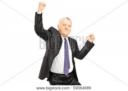Ecstatic businessman with hands in the air isolated on white background