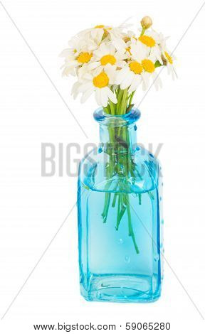 daisy flowers posy in blue glass