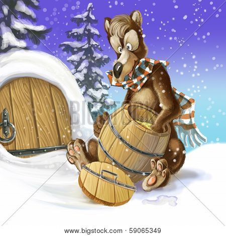 Cartoon Bear Awakened In The Middle Of Winter To Eat Honey From The Barrel. Raster Draw