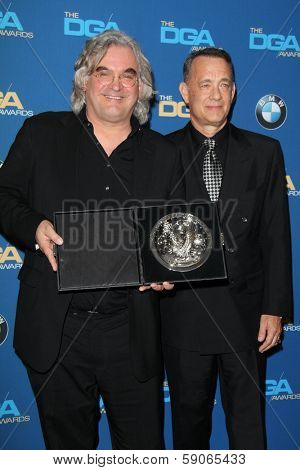 LOS ANGELES - JAN 25:  Paul Greengrass, Tom Hanks at the 66th Annual Directors Guild of America Awards - Press Room at Century Plaza Hotel on January 25, 2014 in Century City, CA