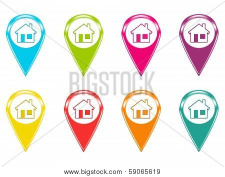 Set of house icons or colored markers on maps