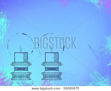 Two highly ornamental candles on watercolor.