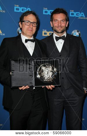 LOS ANGELES - JAN 25:  David O Russell, Bradley Cooper at the 66th Annual Directors Guild of America Awards - Press Room at Century Plaza Hotel on January 25, 2014 in Century City, CA
