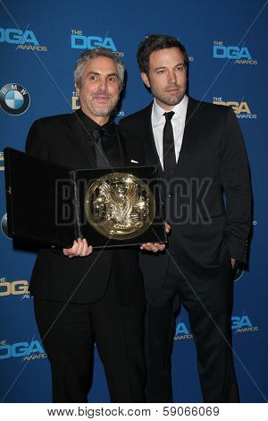 LOS ANGELES - JAN 25:  Alfonso Cuaron, Ben Affleck at the 66th Annual Directors Guild of America Awards - Press Room at Century Plaza Hotel on January 25, 2014 in Century City, CA