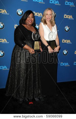 LOS ANGELES - JAN 25:  Shonda Rhimes, Betsy Beers at the 66th Annual Directors Guild of America Awards - Press Room at Century Plaza Hotel on January 25, 2014 in Century City, CA