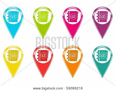 Set of icons or colored markers with address book symbol
