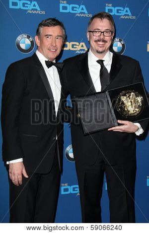 LOS ANGELES - JAN 25:  Steeve Coogan, Vince Gilligan at the 66th Annual Directors Guild of America Awards - Press Room at Century Plaza Hotel on January 25, 2014 in Century City, CA