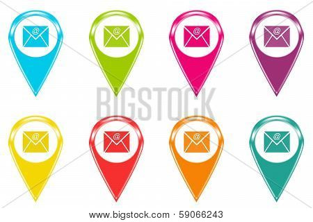 Set of icons or colored markers with email symbol