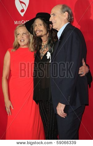 LOS ANGELES - JAN 24: Caroline Smedvig, Steven Tyler, James Taylor at the 2014 MusiCares Person Of The Year event at the Convention Center on January 24, 2014 in Los Angeles, CA
