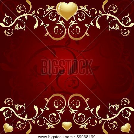 Red Background with golden leaf an hearts
